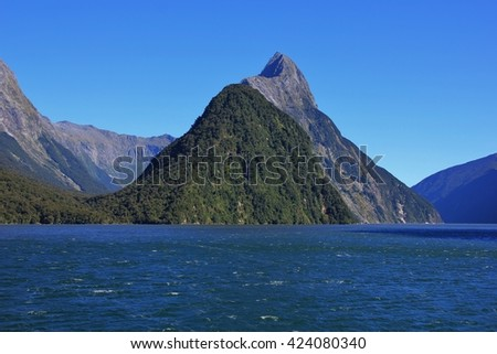 Majestic mountain Mitre Peak. Milford Sound, New Zealand. - stock photo