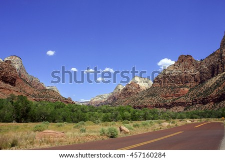 majestic mountain ranges of Zion national park - stock photo