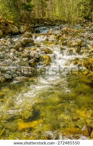 Majestic mountain river in Canada. - stock photo