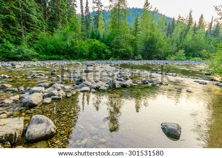 Majestic mountain river in Canada. Manning Park Lightning Lake Trail in British Columbia. - stock photo