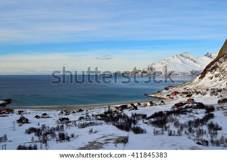 majestic mountain, sea and beach landscape in the arctic circle