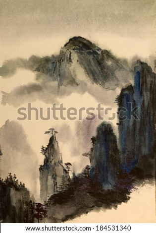 majestic mountains and vast Chinese - stock photo