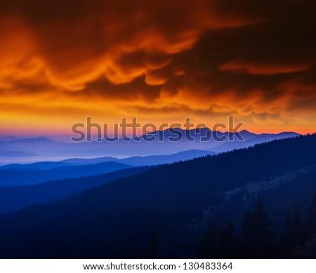 Majestic mountains landscape under morning sky with clouds. Carpathian, Ukraine. - stock photo