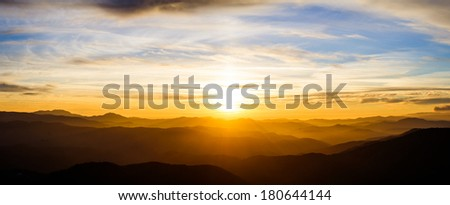 Majestic mountains landscape under morning sky with clouds. Carpathian, Ukraine. - stock photo