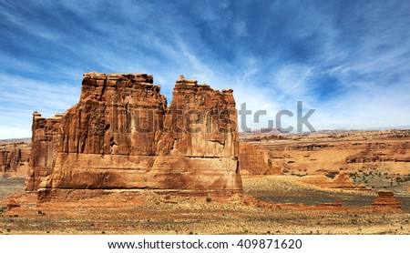 majestic red rock formation in arches national park - stock photo
