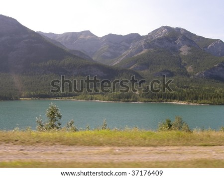Majestic Rocky Mountains In Kananaskis Country in Alberta, Canada - stock photo
