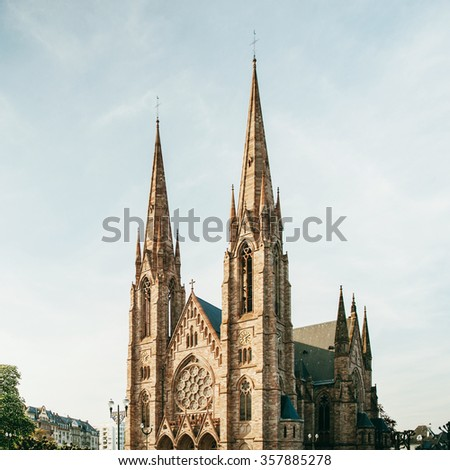 Majestic Saint Paul's Church in the evening, Strasbourg, Alsace, France - stock photo