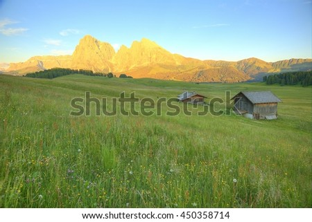 Majestic scenery of rocky Sassolungo-Sassopiatto (Langkofel-Plattkofel) & Sella mountain at sunset in Seiser Alm, Valley Gardena, Dolomiti National Park, South Tyrol, Italy, Europe (in Ortisei) - stock photo