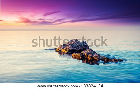 Majestic summer sunset over the sea. Dramatic sky. Crimea, Ukraine, Europe. Beauty world. - stock photo