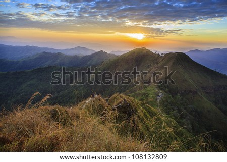 Majestic sunrise in the mountains landscape.