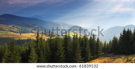 majestic sunrise in the mountains landscape - stock photo