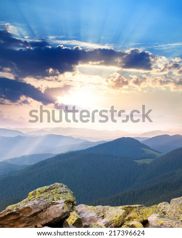 majestic Sunrise over the mountains  with sunbeams, Ukraine, Carpathians, Europe - stock photo