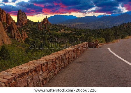 Majestic Sunset Image of the Garden of the Gods with dramatic sky. - stock photo