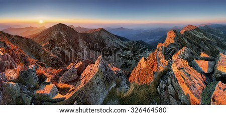 Majestic sunset in autumn mountains landscape - stock photo