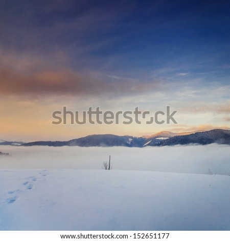Majestic sunset in the mountains landscape.Carpathia n, Ukraine.