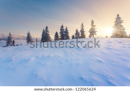 Majestic sunset in the mountains landscape.Carpathian, Ukraine. - stock photo