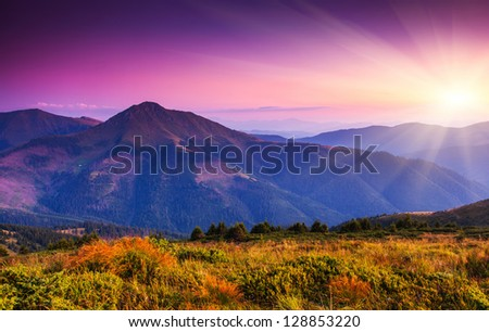 Majestic sunset in the mountains landscape. Carpathian, Ukraine. - stock photo