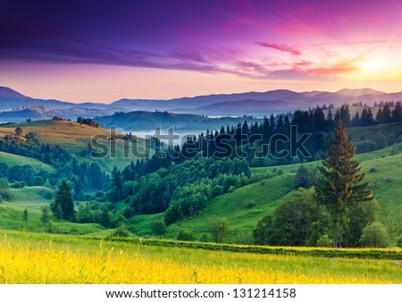 Majestic sunset in the mountains landscape. Carpathian, Ukraine, Europe. Beauty world. - stock photo