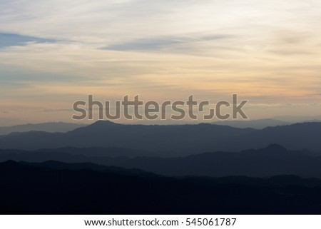 Majestic sunset in the mountains landscape ,Doi Luang Chiang Dao , Thailand