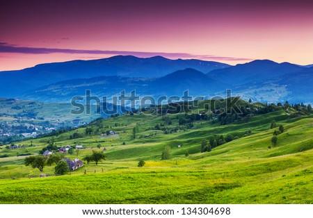 Majestic sunset in the mountains landscape. Dramatic sky. Carpathian, Ukraine, Europe. Beauty world. - stock photo
