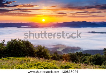 Majestic sunset in the mountains landscape. Overcast sky. Carpathian, Ukraine, Europe. Beauty world. - stock photo