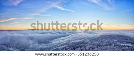 Majestic sunset in the winter mountains landscape. High resolution image