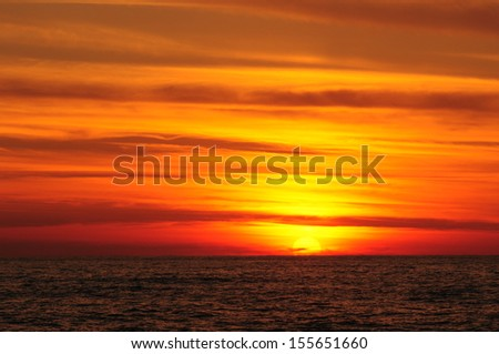 Majestic sunset over the Black Sea - stock photo