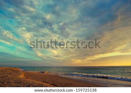 Majestic sunset over the Black Sea - stock photo