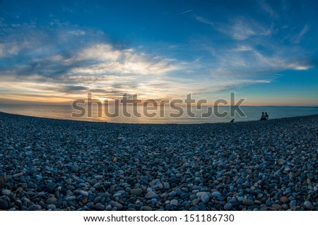 Majestic sunset over the Black Sea in Batumi, Georgia  - stock photo