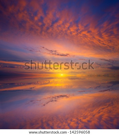 Majestic sunset over water surface