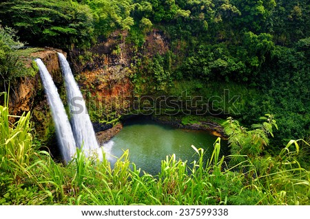 Majestic twin Wailua waterfalls on Kauai, Hawaii - stock photo
