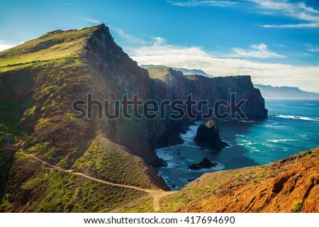 majestic view of the cliffs at Ponta de Sao Lourenco, Madeira, Portugal - stock photo