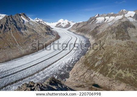 Majestic view to Aletsch glacier, the largest gracier in Alps and UNESCO herritage from Bettmeralp, Valais, Switzerland, Europe - stock photo