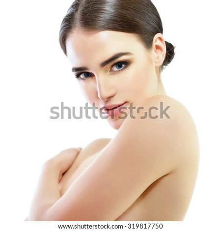 Majestic woman's beauty. Portrait of girl over white background. Beauty treatment, cosmetology, spa, health care, body and skin care concept. - stock photo
