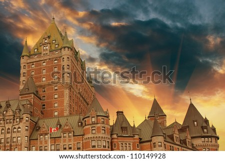Majesty of and Ancient Medieval Castle, Quebec City - stock photo