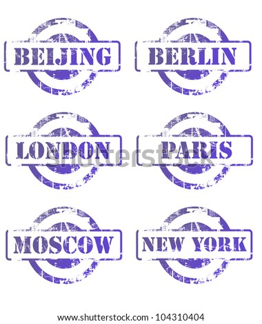 Major city passsport stamps isolated on white background. - stock photo