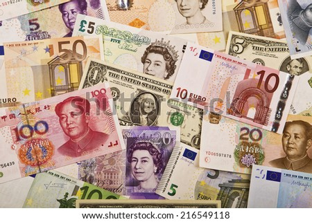 Major currencies in the world - stock photo