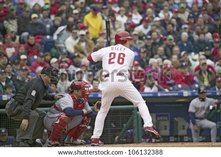 Major League baseball player for the Philadelphia Phillies, #26, Chase Utley, a lefthanded batter, waiting for pitch on March 31, 2008 opening game against Washington Nationals, at Citizens Bank Park - stock photo
