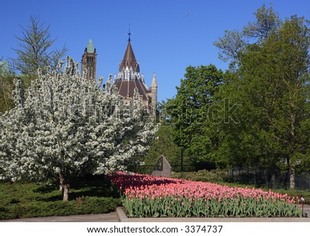 Major's Hill Park. Canadian Tulip Festival. Library of Parliament. Ottawa, Ontario. Canada.