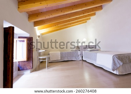 Majorca Balearic bedroom indoor house in Balearic islands Mediterranean architecture of Mallorca - stock photo