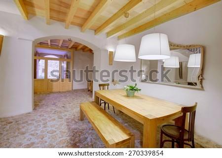 Majorca Balearic indoor house in Balearic islands Mediterranean architecture of Mallorca - stock photo