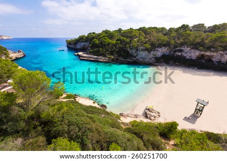 Majorca Cala Llombards Santanyi beach in Mallorca Balearic Island of Spain - stock photo
