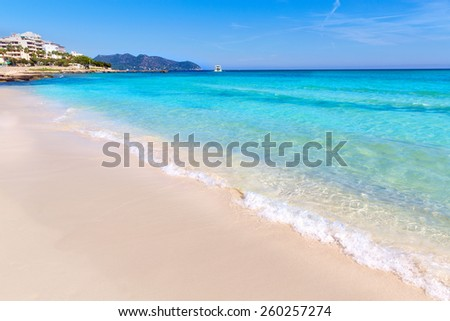 Majorca Cala Millor beach Son Servera Mallorca Balearic islands of Spain - stock photo