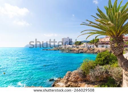 Majorca Cala Ratjada beach Rajada in Capdepera Mallorca - stock photo