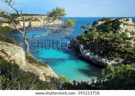 Majorca, Calo des Moro, cala de moro, stunning view onto the bay - stock photo
