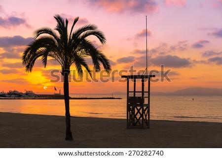 Majorca El Arenal sArenal beach sunset near Palma de Mallorca in Balearic Islands spain - stock photo