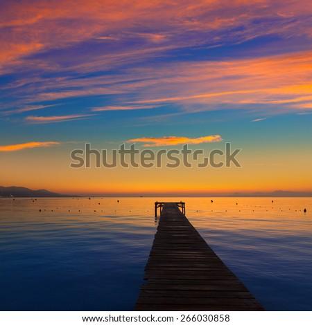 Majorca Muro beach sunrise in Alcudia Bay Mallorca at Balearic Islands of Spain - stock photo