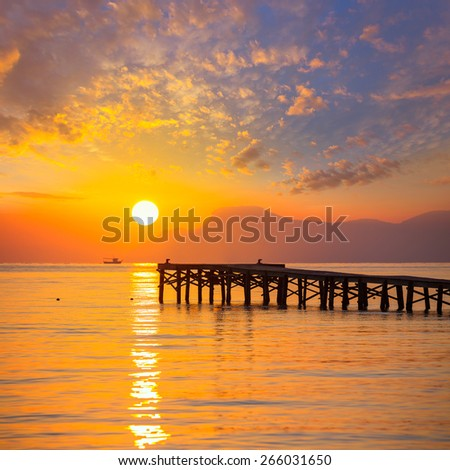 Majorca Muro beach sunrise in Alcudia Bay Mallorca at Balearic Islands of Spain