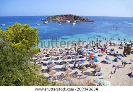 Majorca, Spain - August 03 2014: Well-known and popular Portals Nous (Playa Oratorio) beach in Majorca