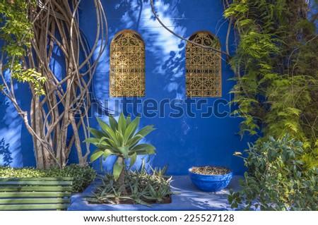 Majorelle Gardens in Marrakesh, Morocco - stock photo